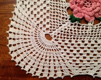 Vintage Unique Sqare Hand Crocheted Rose Doily