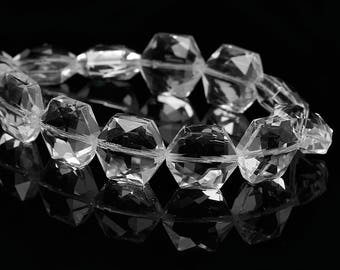 "5 ""Hexagon faceted"" beads 15mm clear glass"