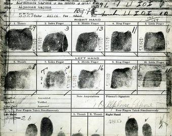 ON SALE Al Capone - Fingerprint Card - Rare - Chicago - Mafia - Prohibition - Mobster - Gangster - Vintage - Antique - Photo, Print - Art -