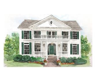 Custom House Painting, Watercolor