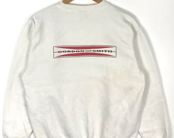 Rare !! Vintage 90s GORDON AND SMITH Boardriding Surfboard White Crew Neck Sweatshirt Large Size
