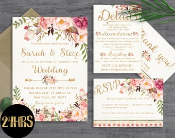 Wedding invitation template Wedding invitation printable Wedding invites set Wedding invitations set printable Printable invitations - diy
