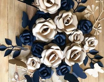 Paper Decor - Paper Flowers - Party Decoration - Wedding Decor - Paper Flowers - Rustic Decor - Paper Flowers Backdrop