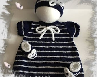 Baby set 0-3 months, dress + headband + slippers Ballet pumps, cotton and acrylic, Navy/white baby wool