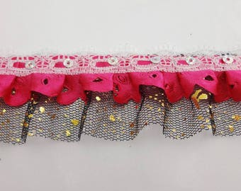 1 meter Ribbon lace tulle satin 4.5 centimeters wide