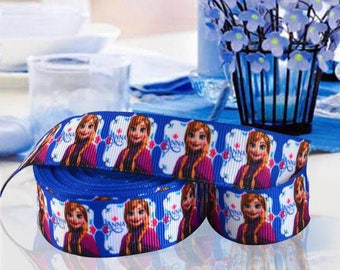 Ribbon GROSGRAIN sold by the yard frozen ANNA 22 mm