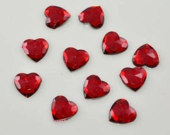 Set of 25 red heart cabochon rhinestones