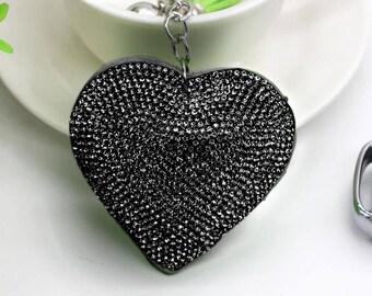 Stunning black Rhinestone Heart Keychain personalize with name