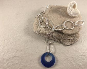 Deep Blue (Cobalt) Sea Glass and Hammered Sterling Silver Necklace