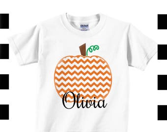 Girls Personalized Pumpkin Halloween shirt , Toddler Halloween Shirt , Halloween shirt girls , Fall T Shirt Girls , chevron pumpkin shirt ,