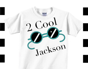 2 cool second birthday t shirt with glasses , boys personalized birthday shirt with sunglasses , two year birthday tee , toddler shirt