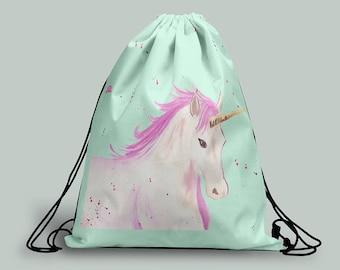 Unicorn Drawstring bag, Unicorn gym bag, Unicorn Backpack, Gifts for Girls, Girls Drawstring Bag, Christmas Gifts for Girls, Unicorn Gift
