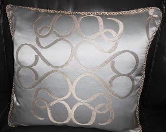 Throw pillow Beacon Hill FUTUROLOGY silver gold scroll abstract medallion Custom new ONE