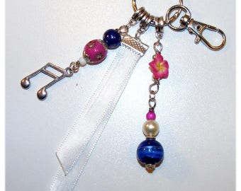 Jewelry bag or key chain - pink and blue
