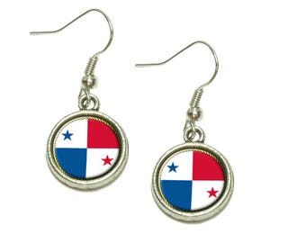 Flag Of Panama Dangling Drop Charm Earrings