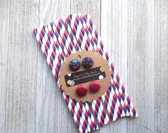 Patriotic Earrings-Red Metallic Studs-Navy Stars Studs-Button Earrings-Fabric Button Earrings-Hypoallergenic-Earrings for Kids-4th of July