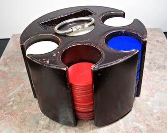 Wooden Poker Chip Caddy! Red White Blue Chips, Four Poker Chip Sleeves, Silver Handle, Card Deck Cubby, Paper and Wood Chips, One Clay Chip