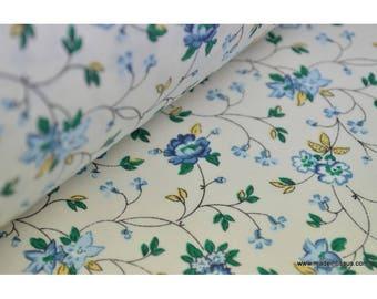 Tissu coton liberty fleur lierre bleue