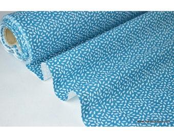 Tissu coton imprimé dessin grains de blé pétrole x50cm