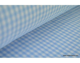 Gingham cotton fabric sky and white .x1m