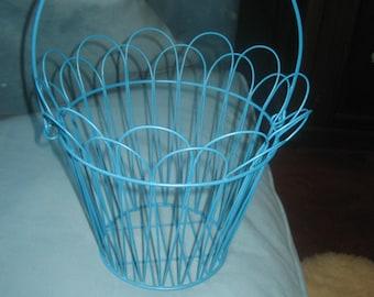 Blue Metal Basket for Plant/Fruit/Easter/Floral Arrangement