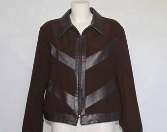 80s/90s • Vintage • Brown Jacket • Fake leather contrast Jacket • Blazer • Brown Vintage Blazer • Brown Woman's Jacket • Brown Blazer