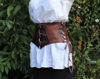 wide leather belt;  leather waist cincher. wide waistband; waist cincher; medieval belt