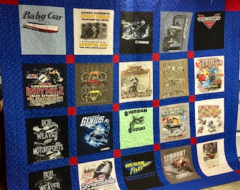 T-shirt Quilt - Lap Size Quilt - Crib Size Quilt - Memory Quilt - Graduation Gift - Free Shipping - Gift for Boy - Birthday Gift - Gift