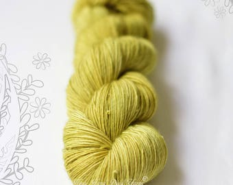 SILK MELODY - Lemongrass - hand dyed, extra fine merino and mulberry silk yarn, for knitting or crochet, singles