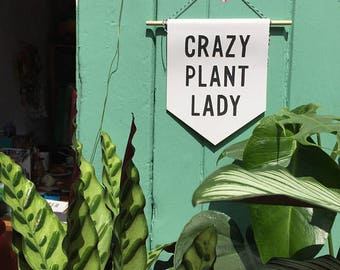 Crazy plant lady banner/ pennant flag / plant pennant banner / gardening gift / house plant sign/ plant based / wall hanging / housewarming