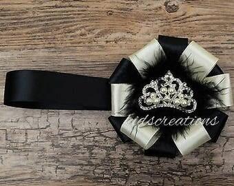 stunning magnetic pram charm corsage  in shiny cream ribbon with  rhinestone