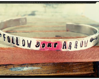 Follow Your Arrow - Hand Stamped Aluminum Cuff - 1100 Series Aluminum//Arrow & Heart Accents - Friend/Family Gift