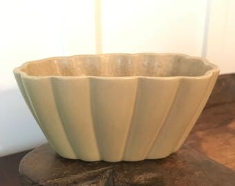 Vintage Green USA Pottery Scalloped Oval Shaped Planter