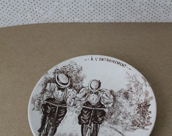 ON SALE French Joke plate from SARREGUEMINES - Bicycle training early twentieth