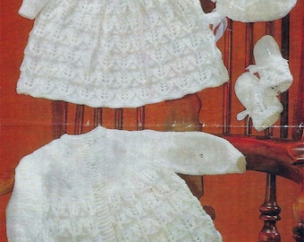 Instant PDF Download  baby short & long dress matinee coat bonnet bootees mittens knitting pattern  (545)