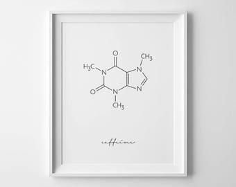 Caffeine Molecule, Coffee Print, Coffee Prints, Chemistry Art, Chemistry Poster, Caffeine Print, Science Poster, Coffee Printable