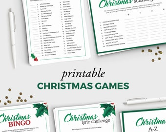 5 Fun Holiday Party Games for Adults - Printable Christmas Games Bundle - Instant Download - 5x7 Christmas Printable - Adult Christmas Party