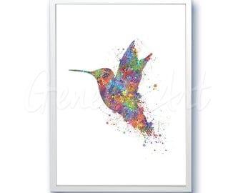 Hummingbird Watercolor Art Print  - Home Living - Animal Painting - Hummingbird Poster - Wall Decor - Home Decor - House Warming Gift