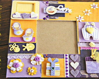 Frame decorated with yellow and purple scrapbooking