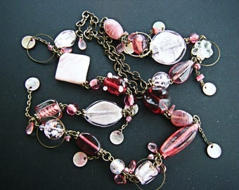 Necklace bronze and pink