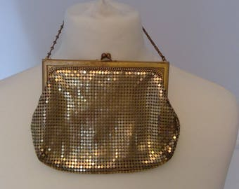 Vintage 1960s 60s Gold Mesh Evening Bag Whiting and Davis
