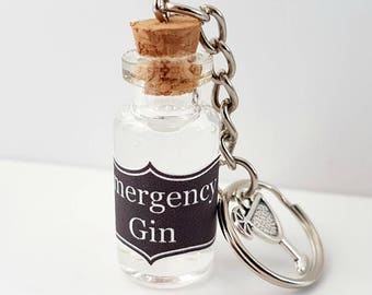 Emergency Gin Keyring - Mini Bottle Of Gin - Vial Of Gin - Gin Gift - Gin & Tonic Charm