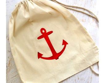Tote bag,Boys drawstring bag, anchor drawstring bag, nautical bag