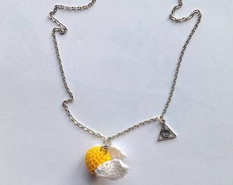Necklace with Golden snitch amigurumi