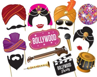 Bollywood Party Photo booth props - Bollywood Wedding,  Bachelorette party, Indian decorations, Printable pdf - 0214
