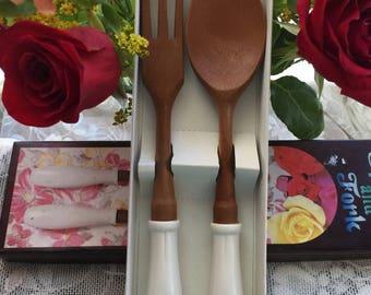 Vintage Virginia Beach Souvenir Spoon and Fork, Vintage Salad Serving Set