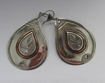 Tuareg Teardrop Silver and Copper Earrings