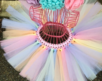 Girls Tutu, Pastel Unicorn Kids Tutu (Headband not included), cake smash tutu, birthday tutu