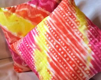 Set of 2 Hand Dyed Batik Throw Pillow Covers-Sofa Pillows-Bed Pillows-Decorative Pillows-Colorful Pillows-Sunny Pillows-Bright Pillows