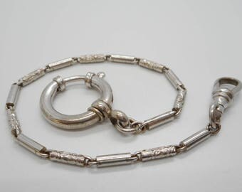 Antique Art Deco New Old Stock Pocket Watch Chain Fob Detailed Links Silver Tone